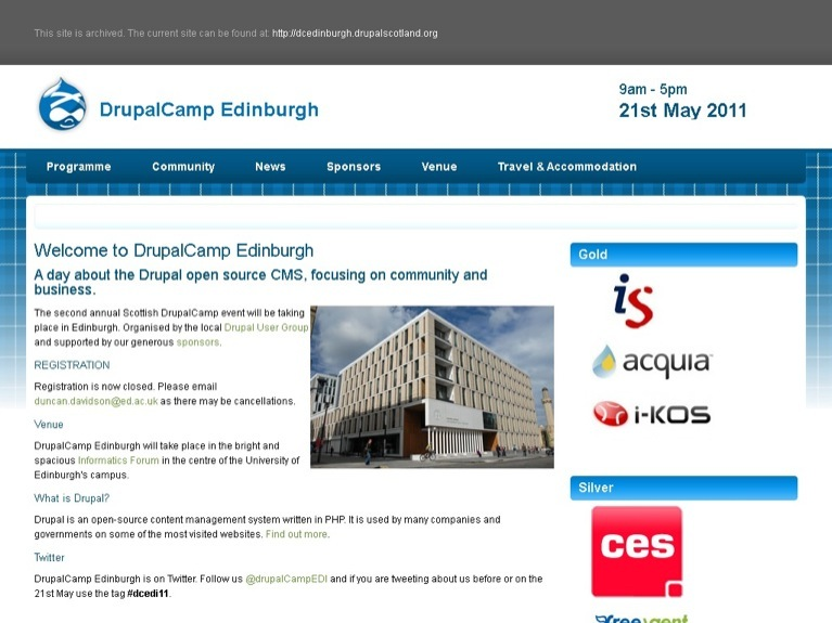 Image of the Drupalcamp Edinburgh 2011 site